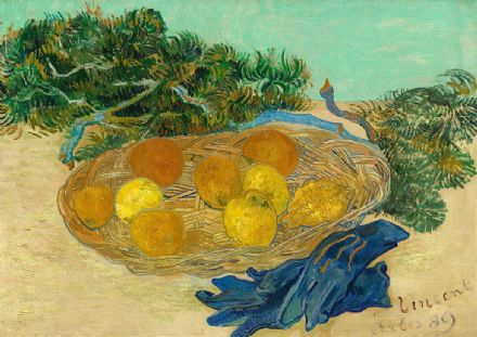 Van Gogh, Vincent: Still Life of Oranges and Lemons with Blue Gloves. Fine Art Print/Poster. Sizes: A4/A3/A2/A1 (004053)